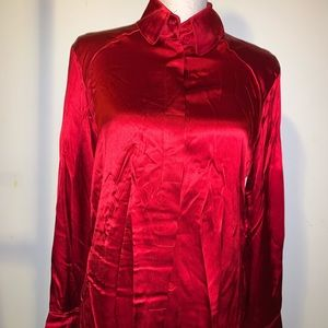 Shiny red blouse